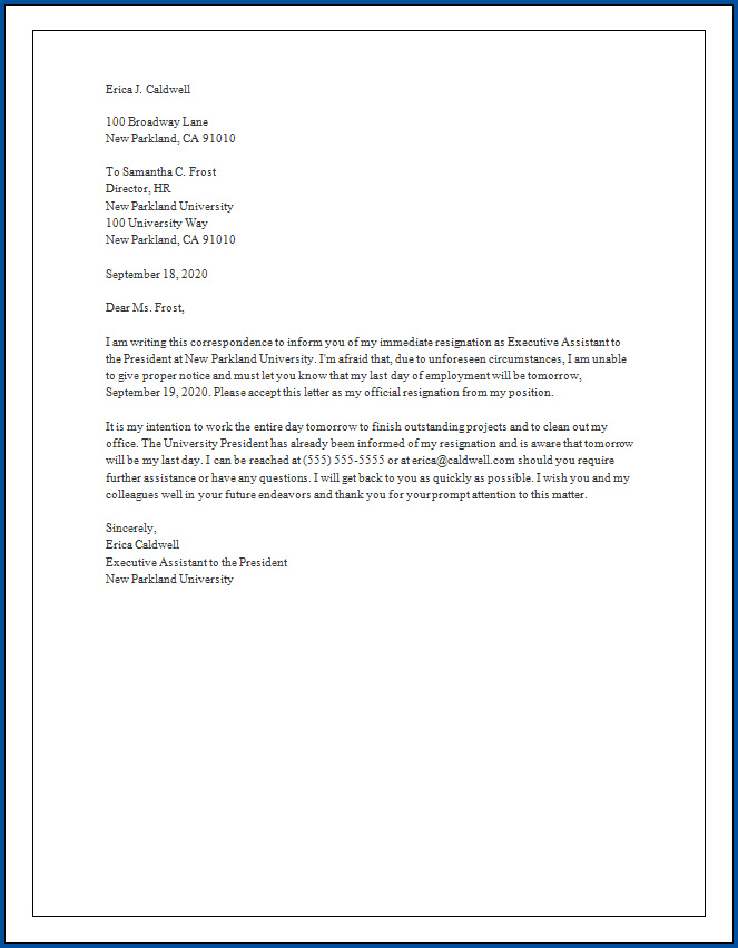 Short Letter Of Resignation from www.templateral.com