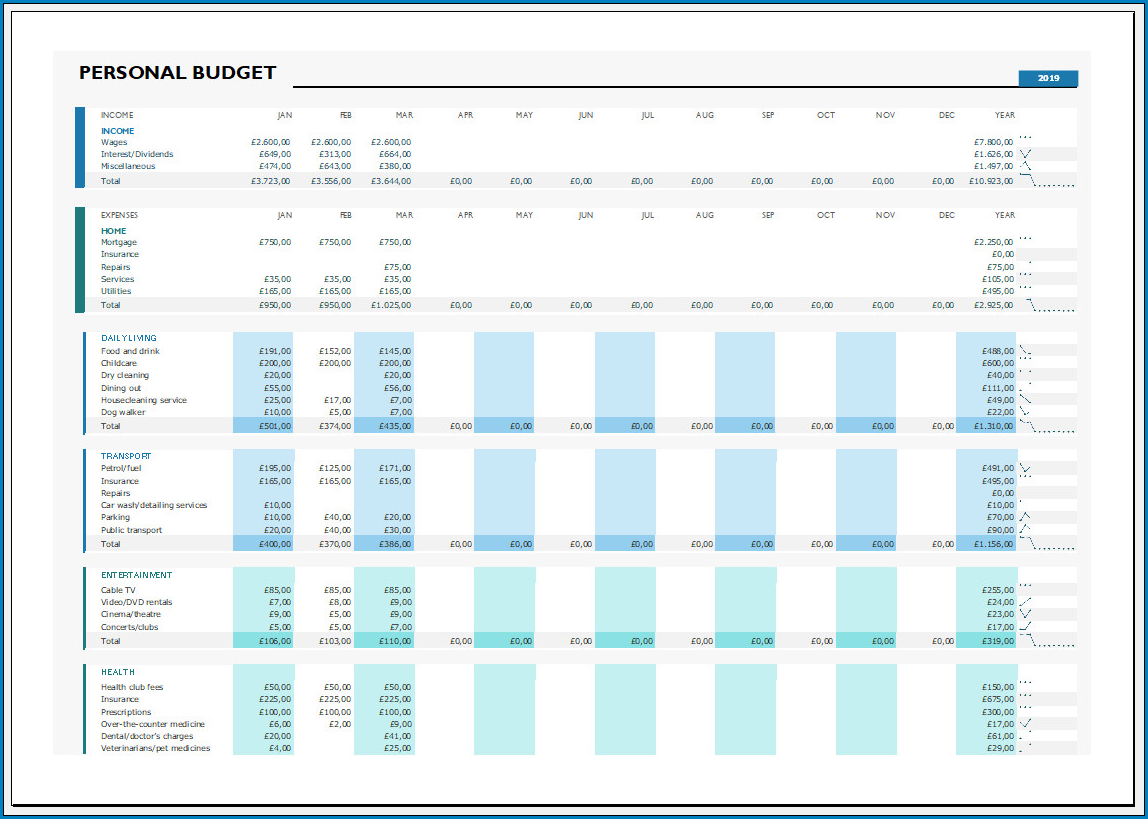 Free Printable Simple Budget Template