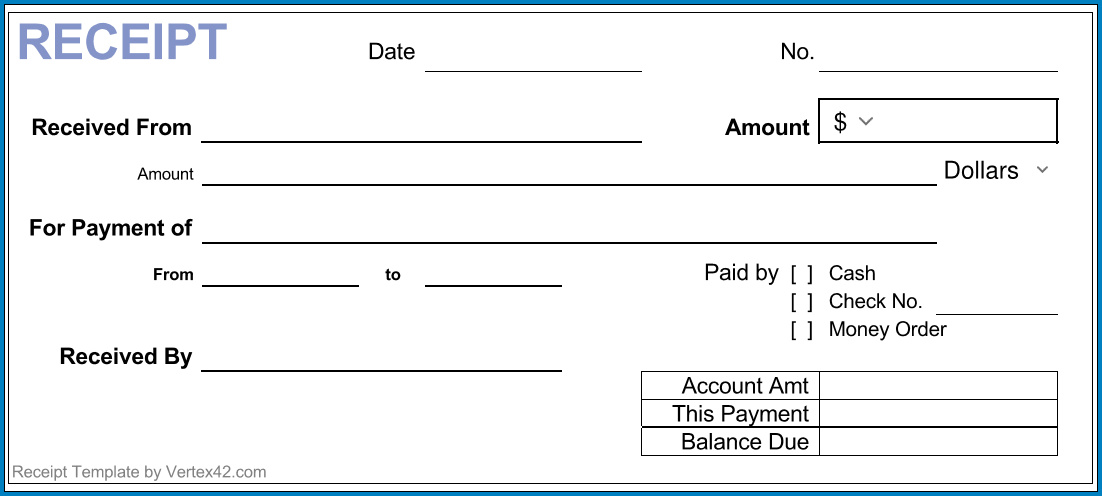 Simple Cash Receipt Template Example