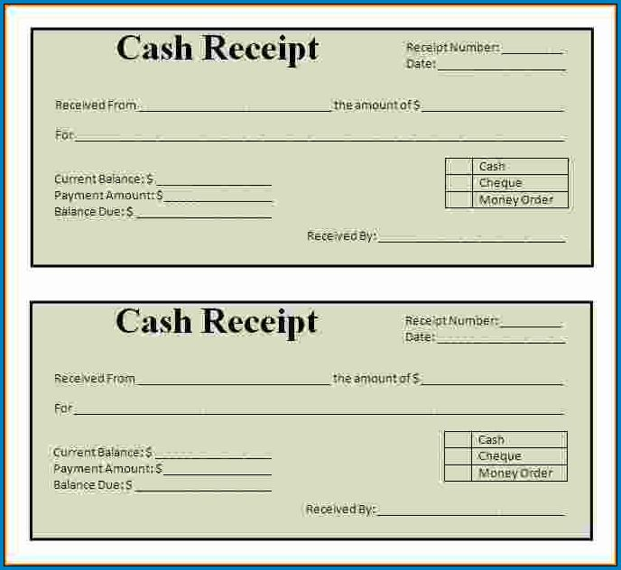 Simple Cash Receipt Template Sample