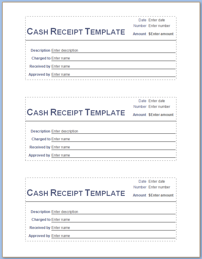 Free Printable Simple Cash Receipt Template