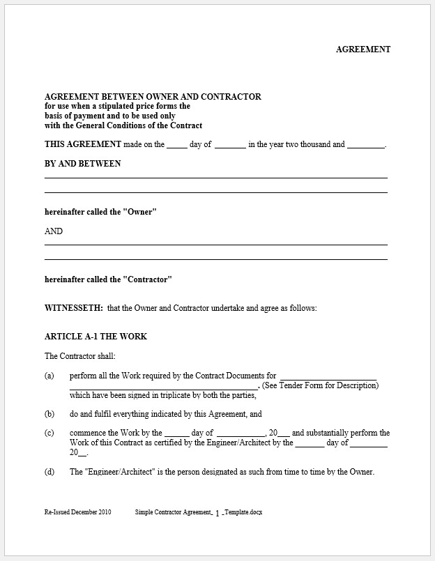 Free Printable Simple Contractor Agreement Template Templateral