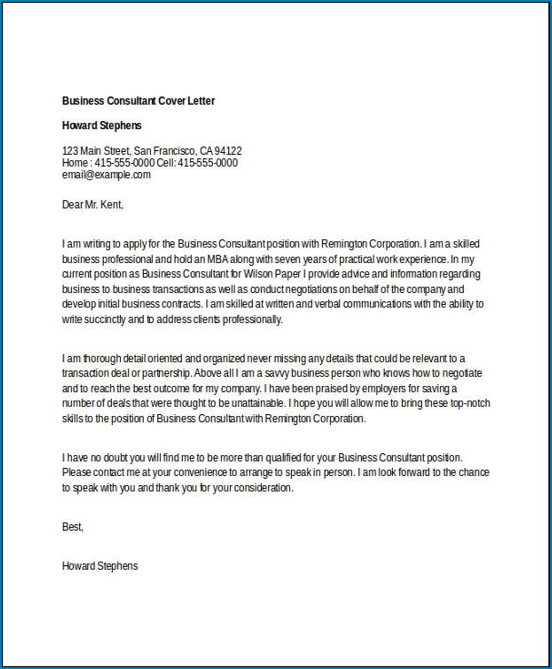 Simple Cover Letter Template Sample