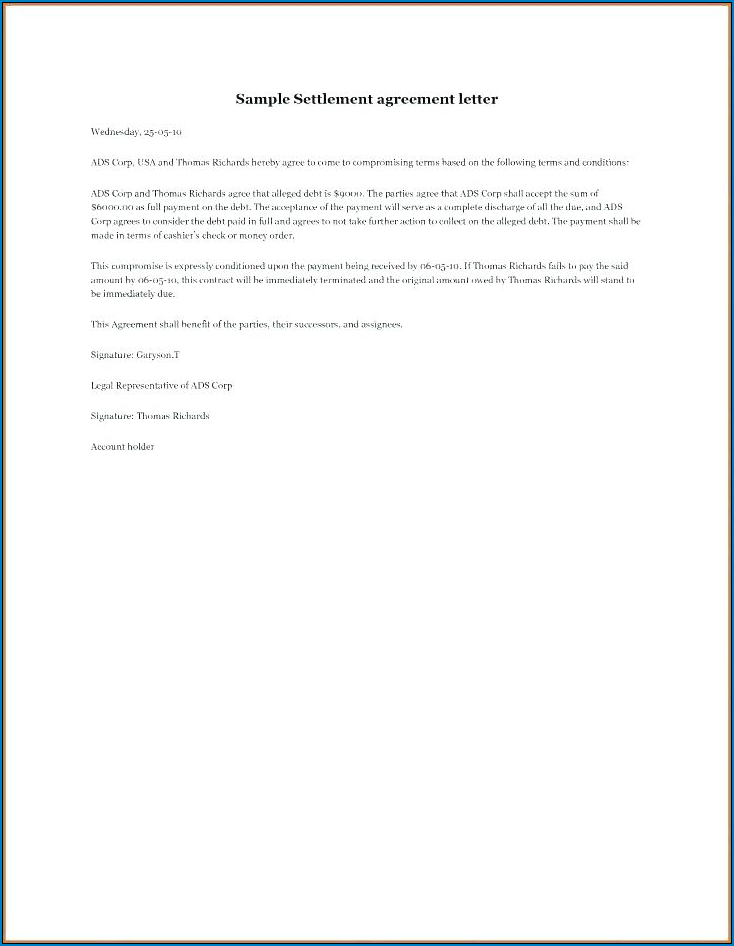 Simple Payment Agreement Template Between Two Parties Example