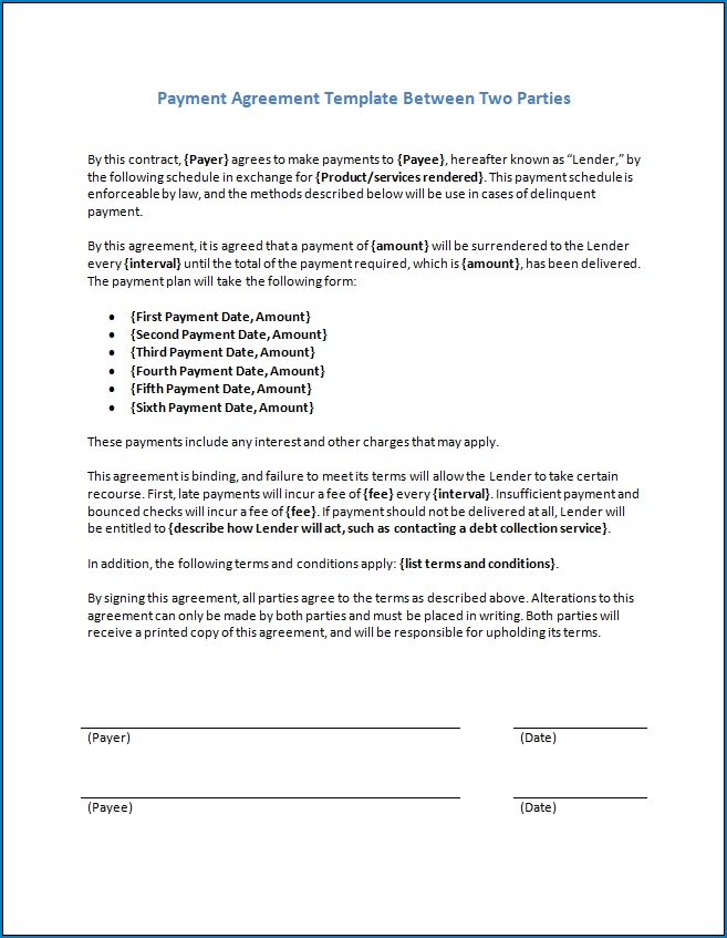 Simple Payment Agreement Template Between Two Parties