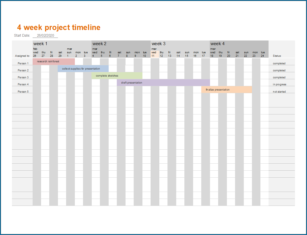 Free Printable Simple Project Timeline Template