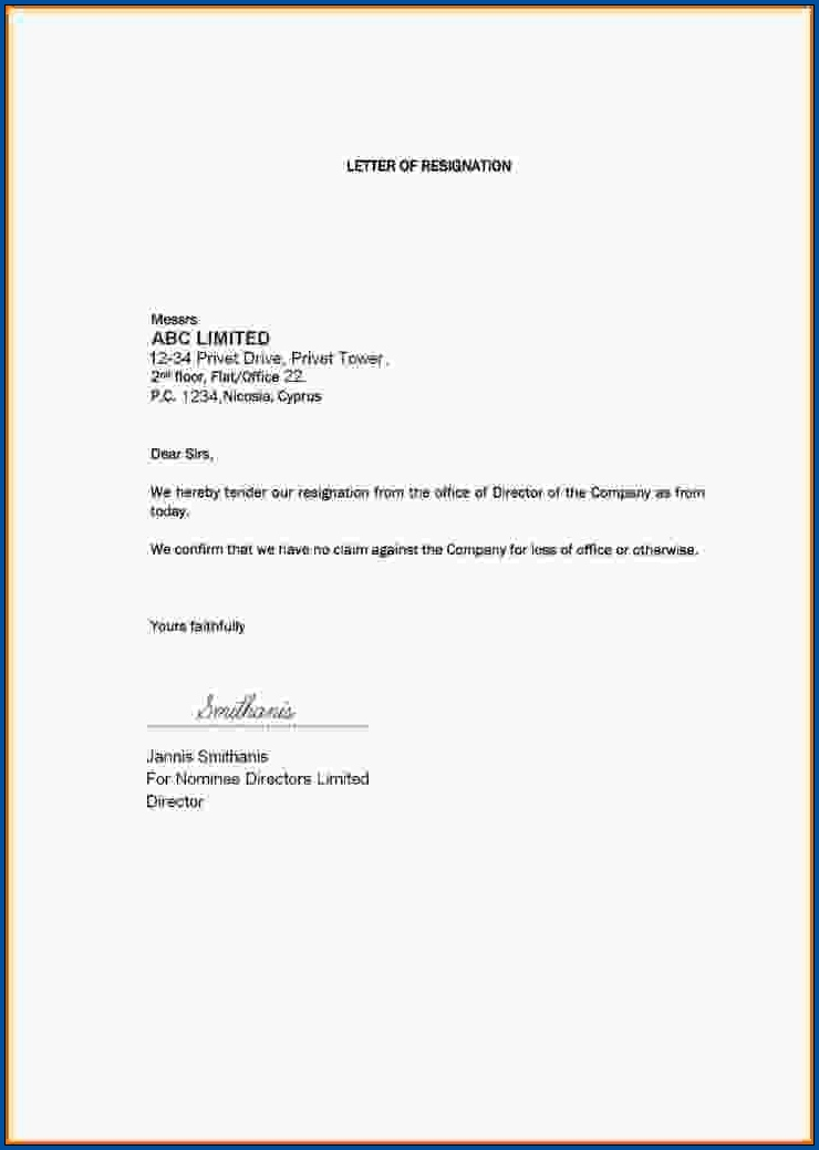 Simple Resignation Letter Template Example