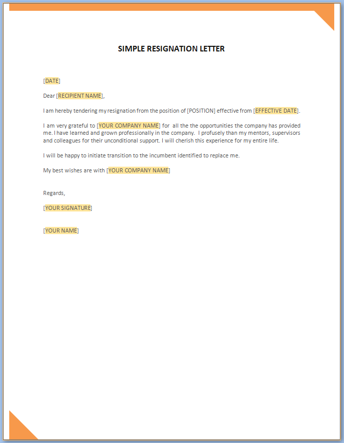 Free Printable Simple Resignation Letter Template