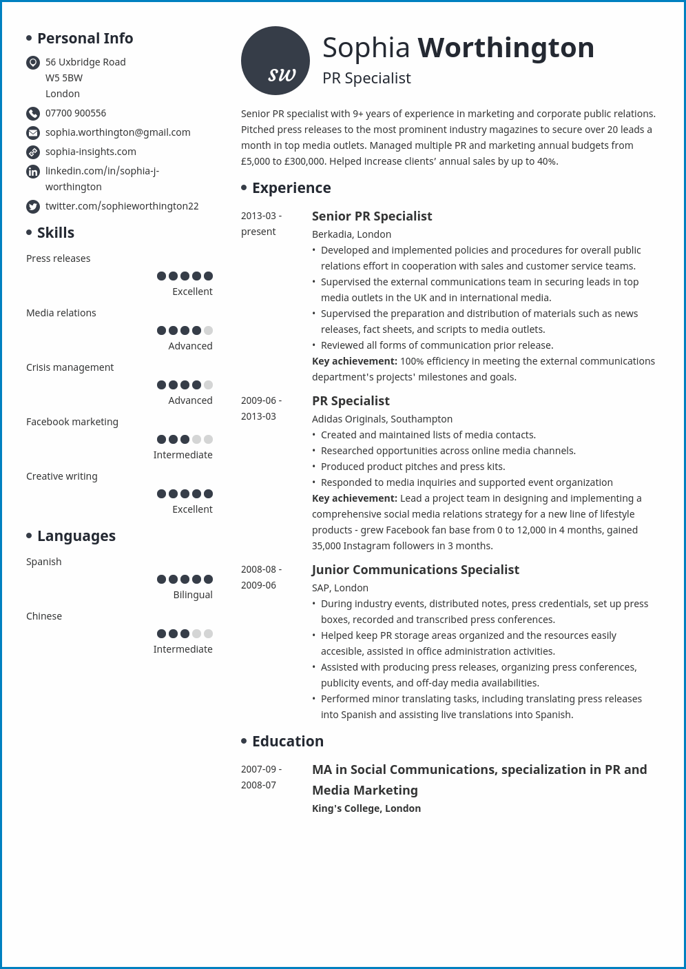 Skill Based Resume Template Example