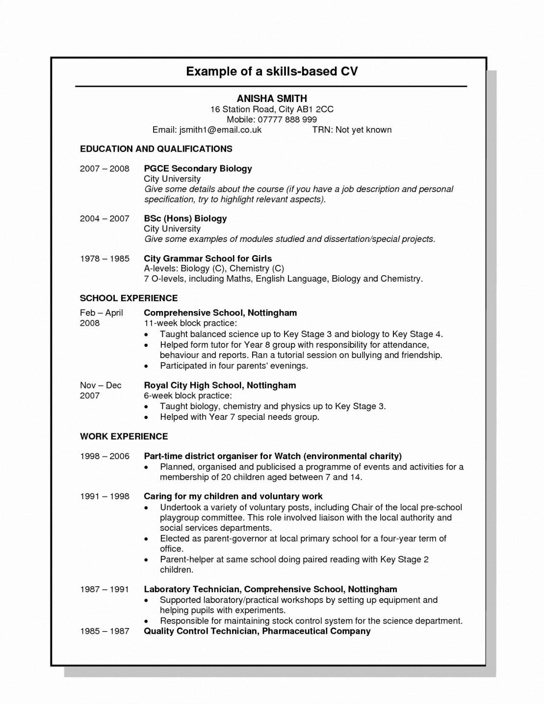 Skill Based Resume Template Sample