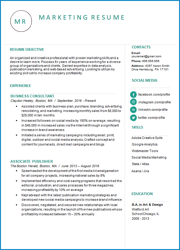 Free Printable Skill Based Resume Template