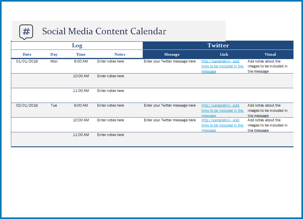 Free Printable Social Media Post Schedule Template