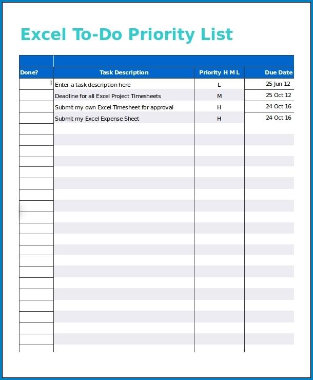 Task List Template Excel Sample
