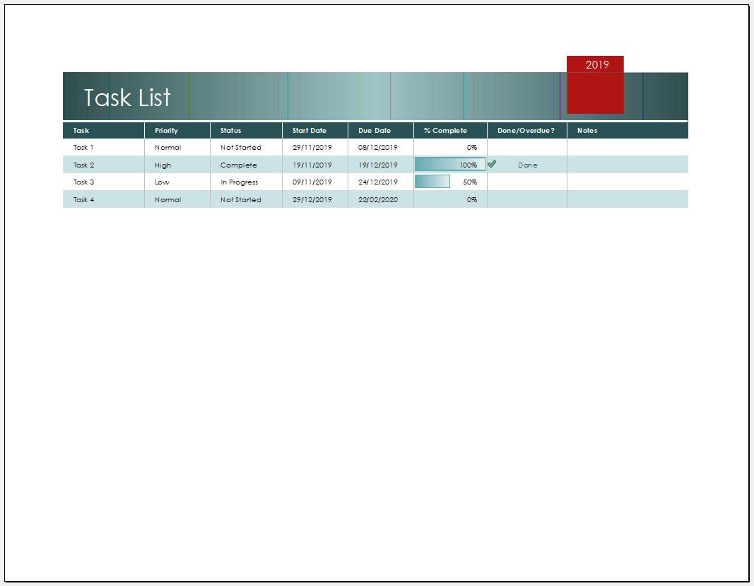 Free Printable Task List Template Excel