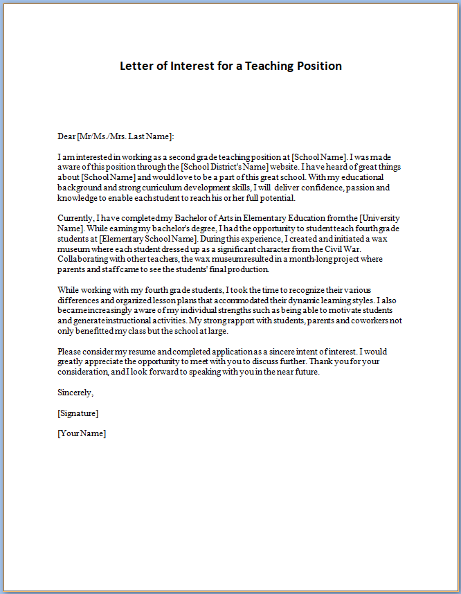 Letter Of Interest Template Free from www.templateral.com