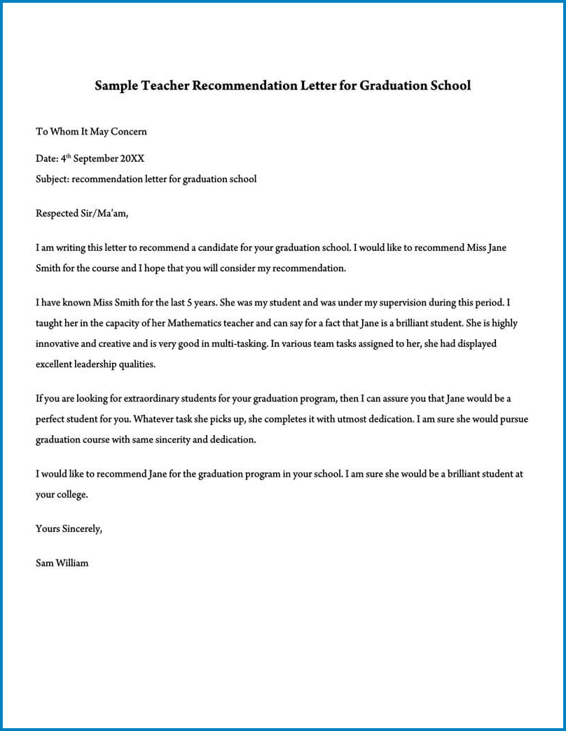 Teacher Letter Of Recommendation Template Example