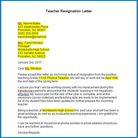Resignation Letter From Teaching from www.templateral.com