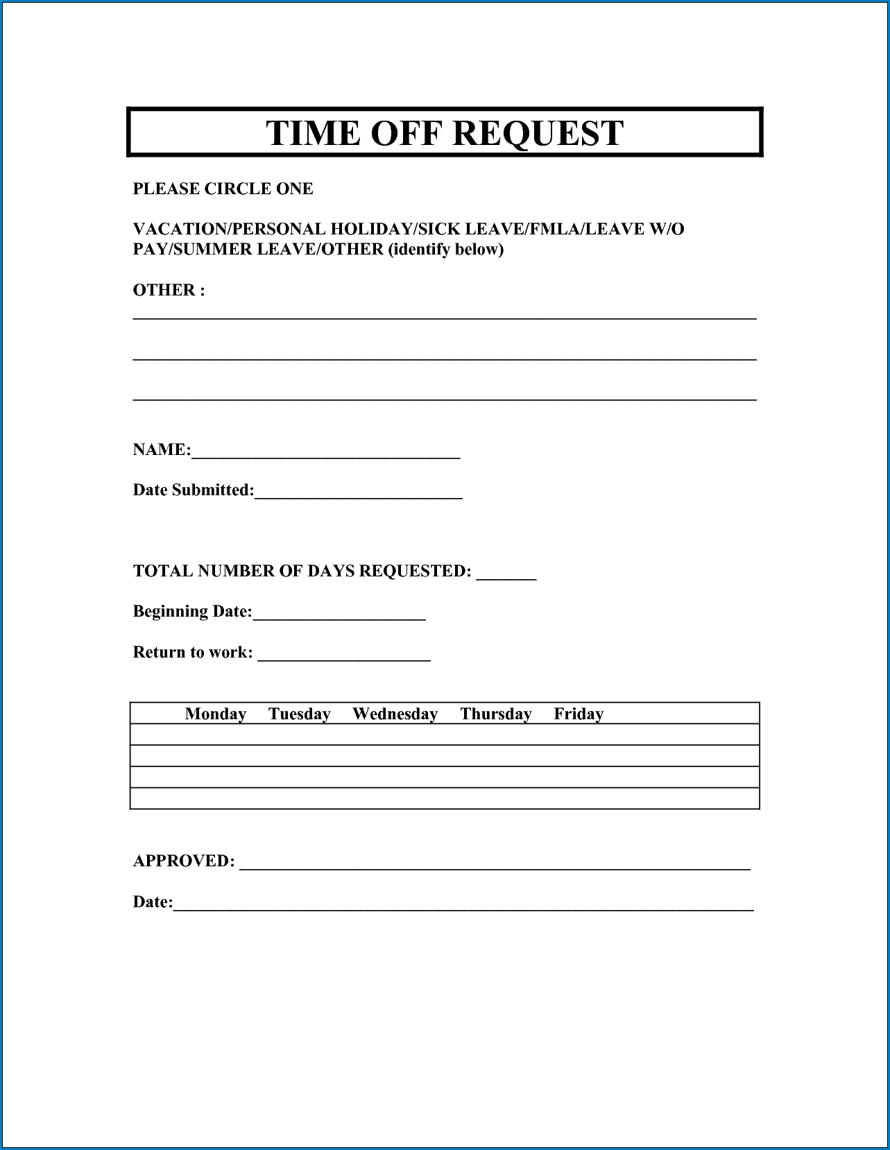 √ Free Printable Time Off Request Form   Templateral
