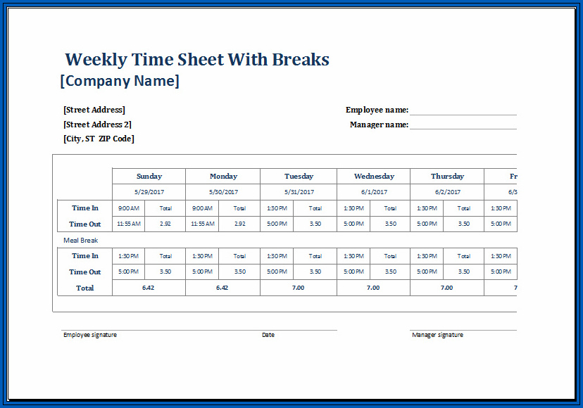 Timesheet Calculator With Lunch Break Example