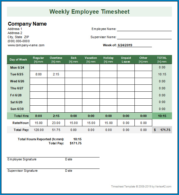 Timesheet Template Excel Sample