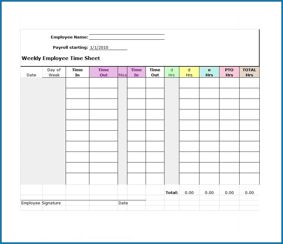 Timesheet Template For Employees Example