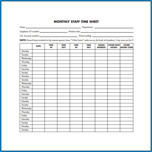 Timesheet Template For Employees Sample