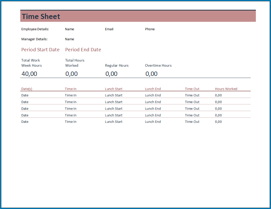 Free Printable Timesheet Template For Excel