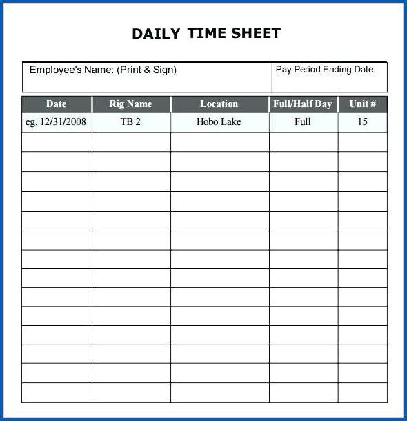 Timesheet Template Google Sheets Example