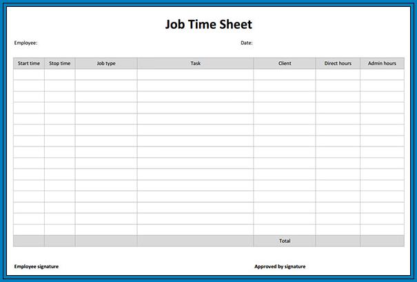 free printable timesheet template pdf