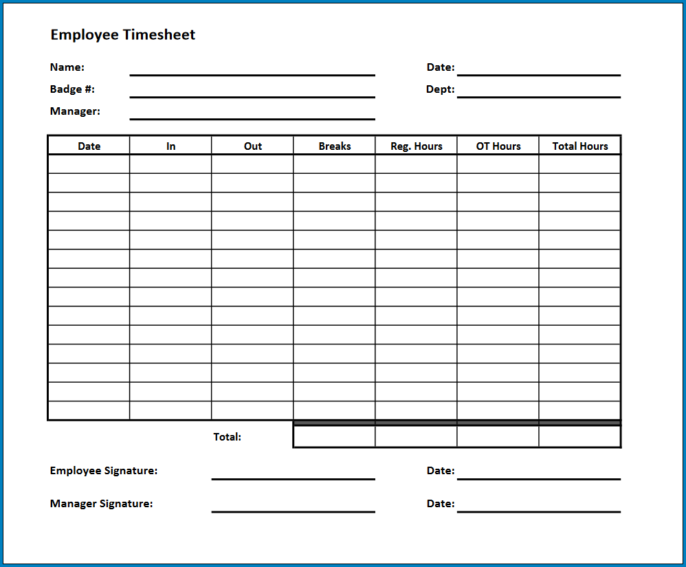 Free Printable Timesheet Template Pdf Templateral