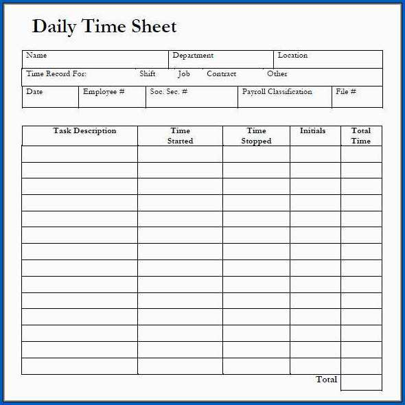Timesheet Template Sample