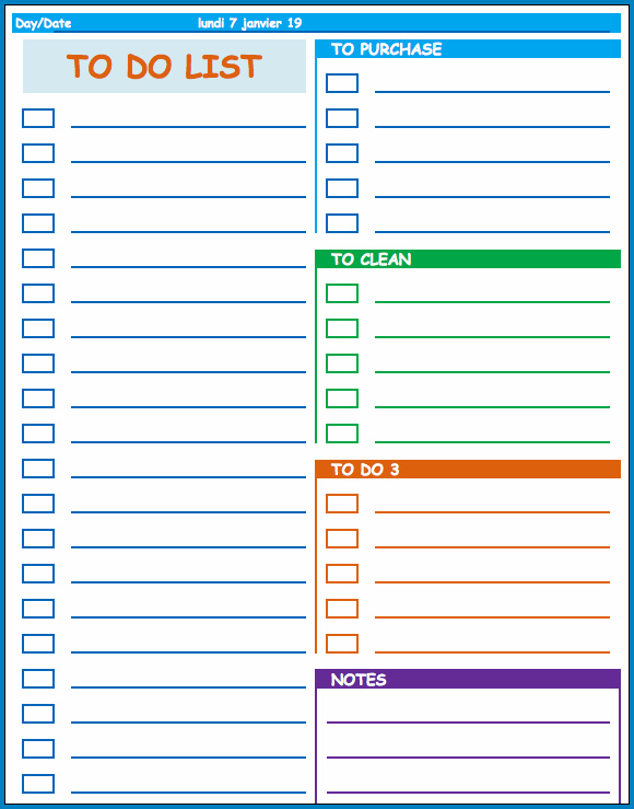 To Do List Template Example