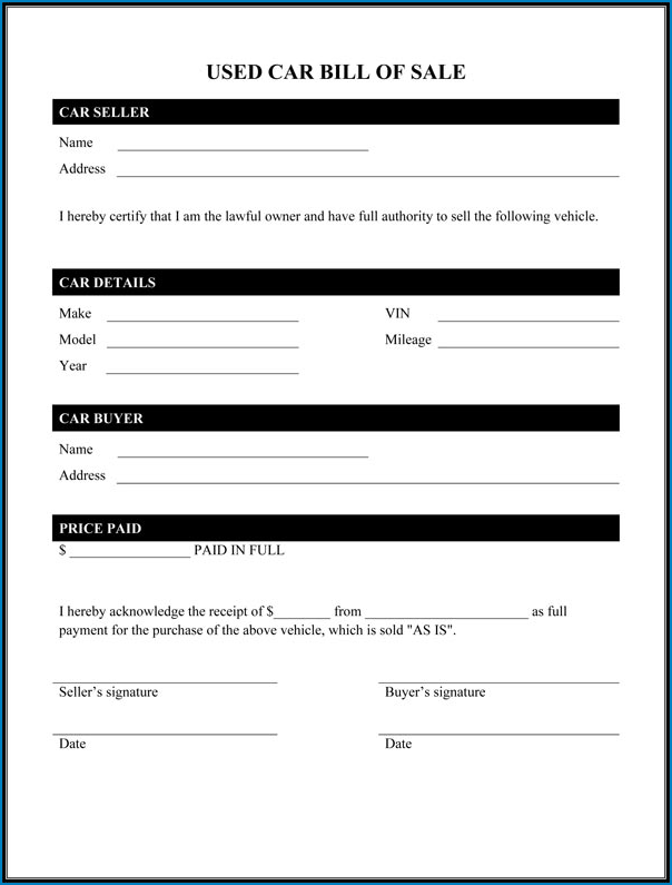 Used Car Bill Of Sale Template Example
