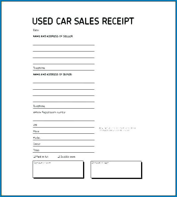 Used Car Sales Agreement Template Example