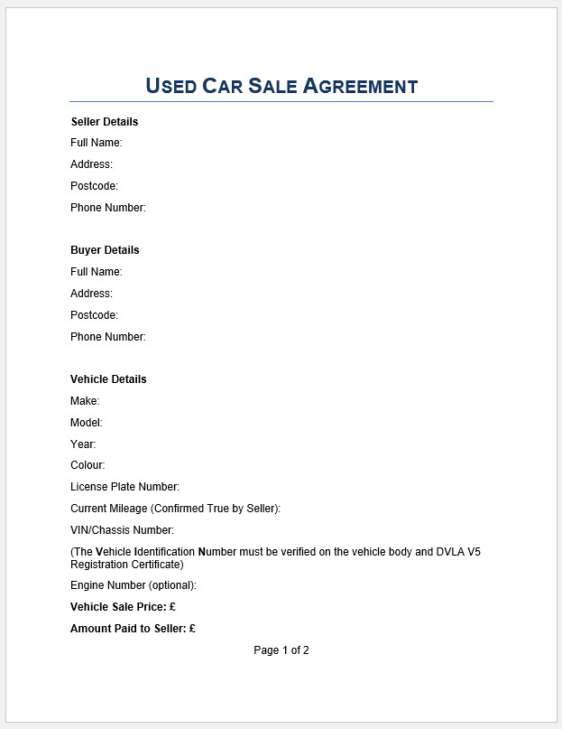 Free Printable Used Car Sales Agreement Template