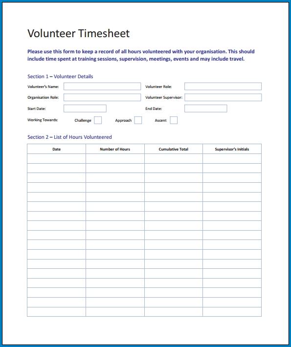 Volunteer Timesheet Template Word Example
