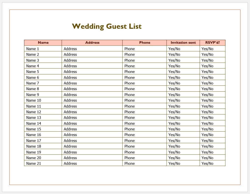 It is a picture of Free Printable Wedding Guest List for budget