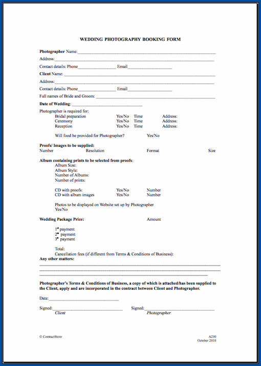 Wedding Photography Contract Template Sample