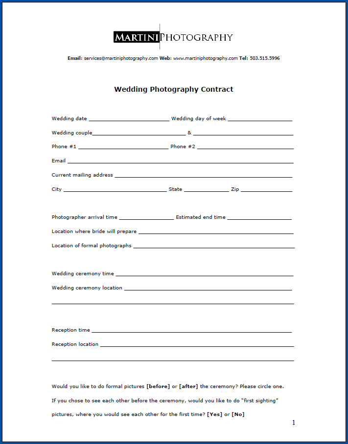 Free Printable Wedding Photography Contract Template