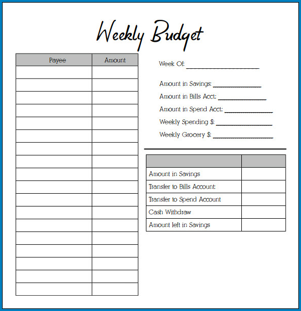 Weekly Budget Template Example