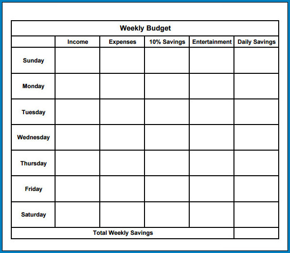 Weekly Budget Template Excel Sample