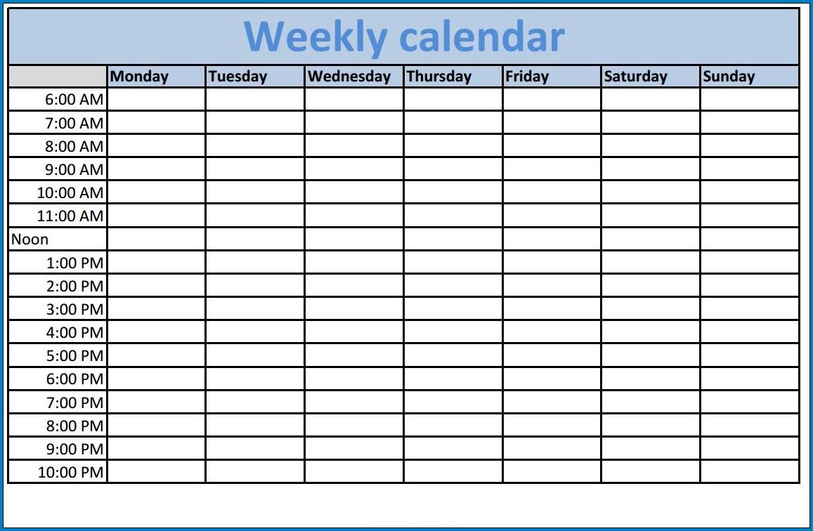 Weekly Calendar Template Example