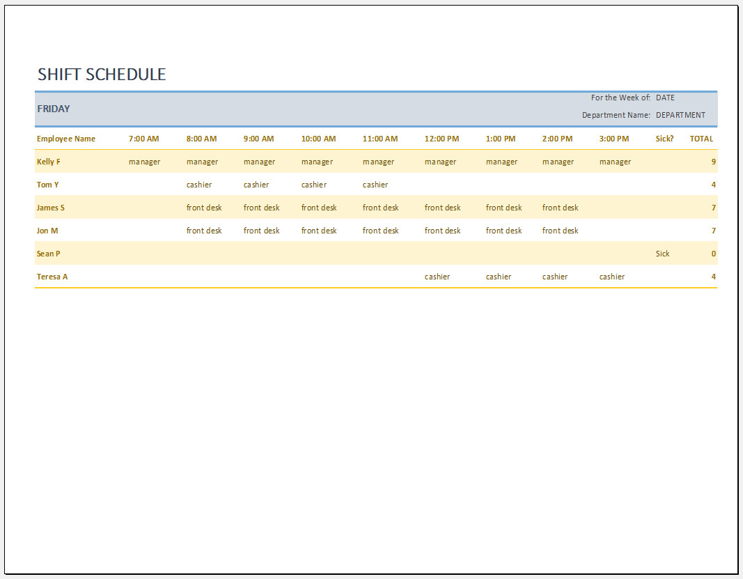 Free Weekly Employee Work Schedule Template Templateral