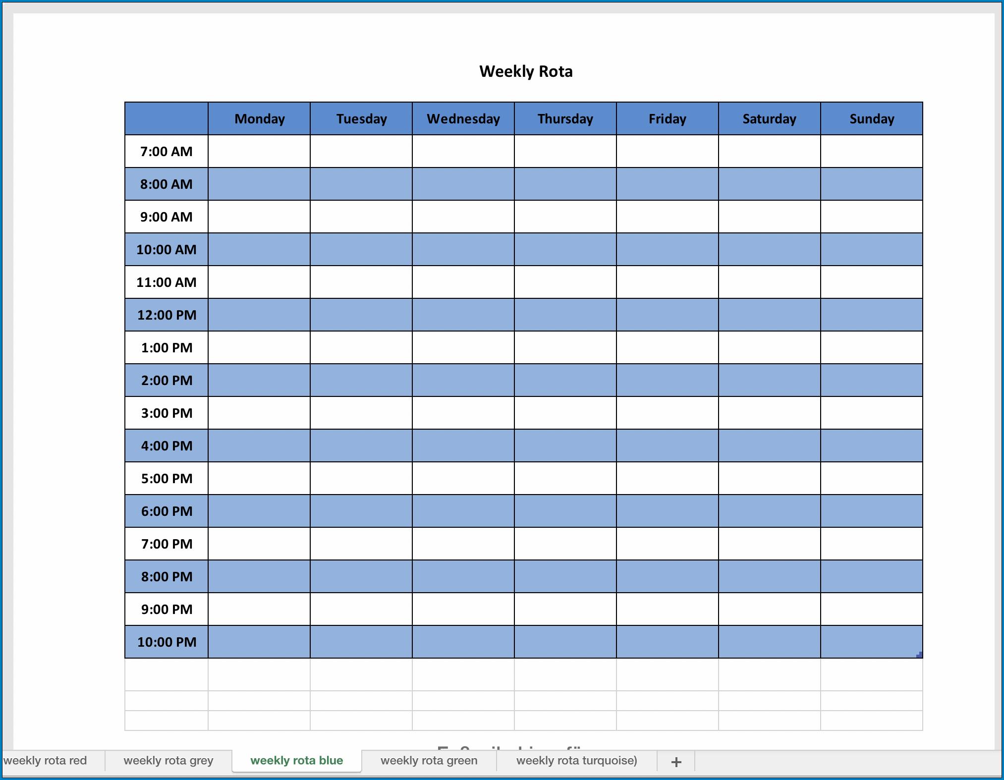 Weekly Planner Template Excel Sample