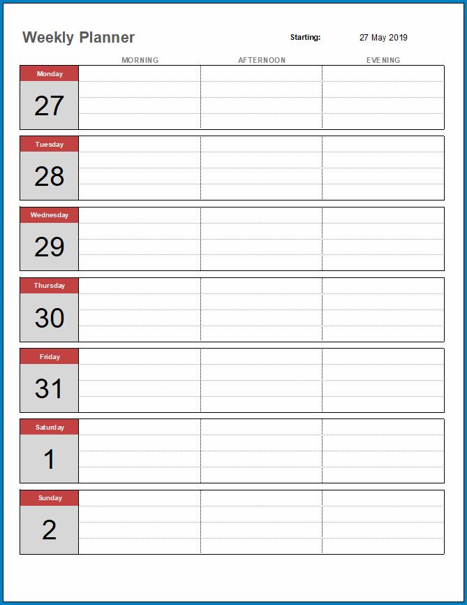 Free Printable Weekly Planner Template Excel
