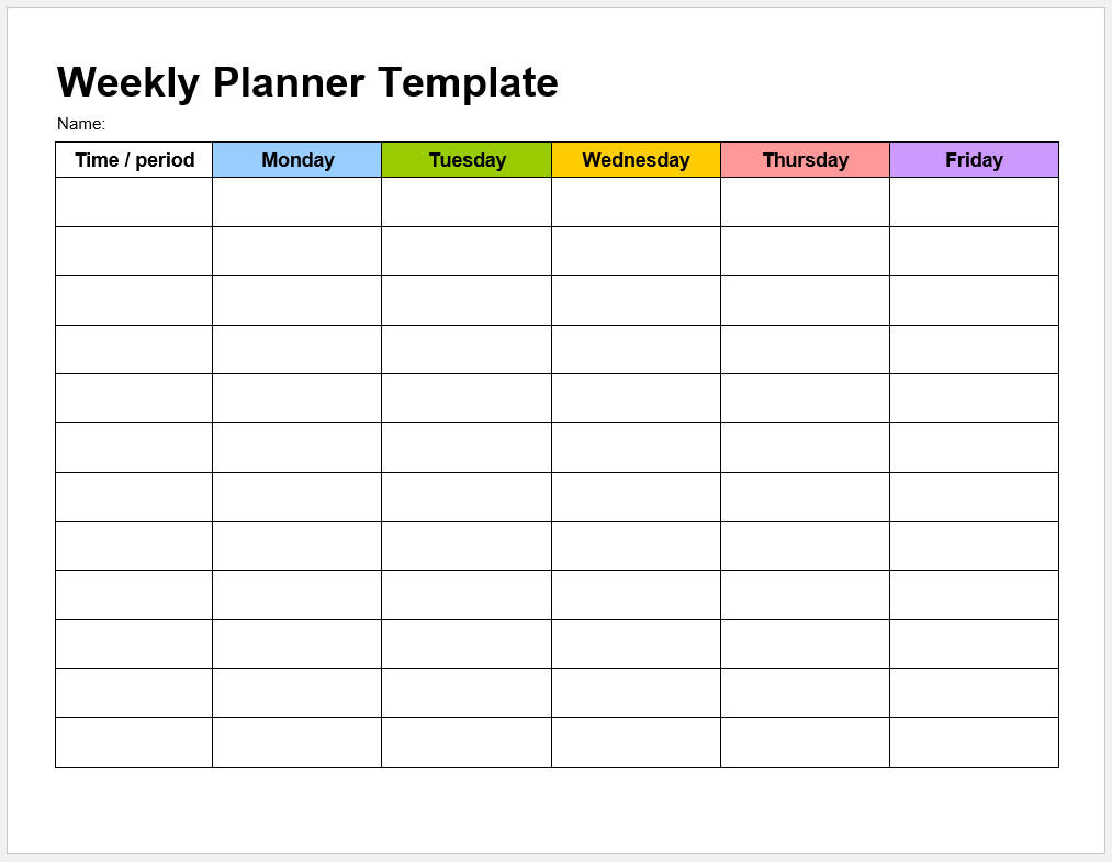 Weekly Planning Template from www.templateral.com