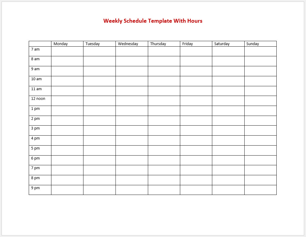 Free Weekly Schedule Template With Hours