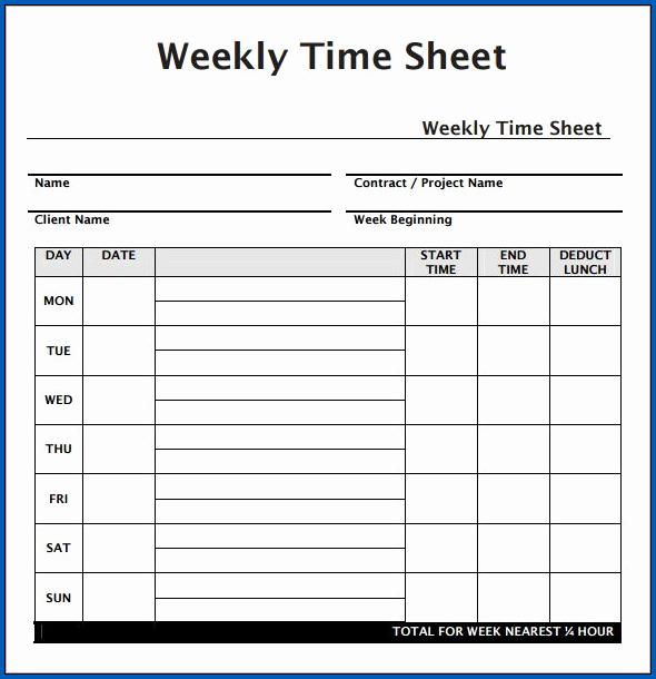 Weekly Timesheet PDF Sample