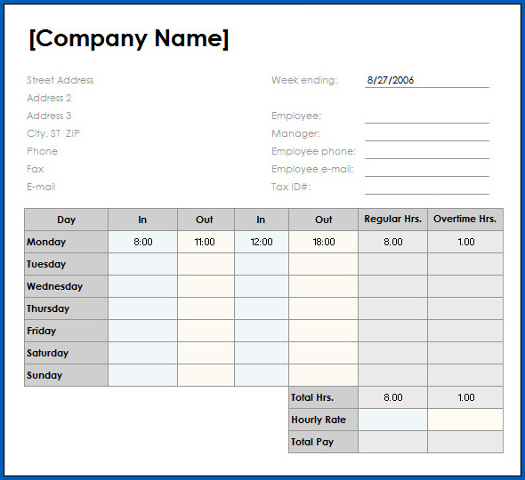 Weekly Timesheet Template Excel Sample