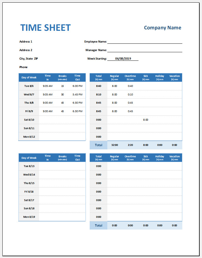 Free Editable Weekly Timesheet Template Excel